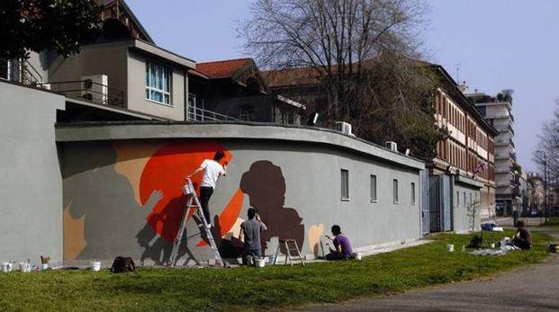 Murale dedicato a Dario Fo (Twitter Pini Foundation)