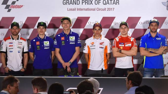 Vinales, Rossi, Marquez, Lorenzo, Iannone (foto Ansa)