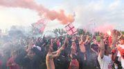 La festa dopo la vittoria e promozione del Rimini in Serie D (foto Schicchi)