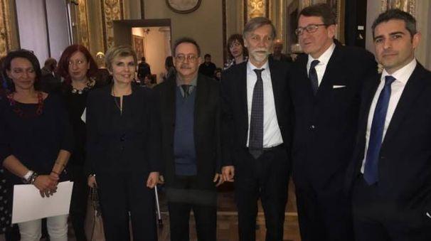 I sindaci delle città emiliane alla conferenza stampa di ieri a Roma