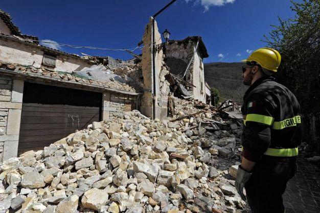 A Vallinfante (frazione di Castelsantangelo sul Nera), area che di recente Spuri (direttore ufficio speciale ricostruzione) ha detto essere «come Rigopiano» per posizione e caratteristiche, non c'è più nulla (Foto Calavita)