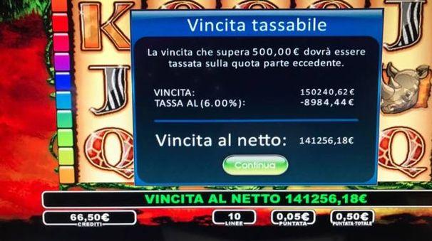 La schermata della vincita