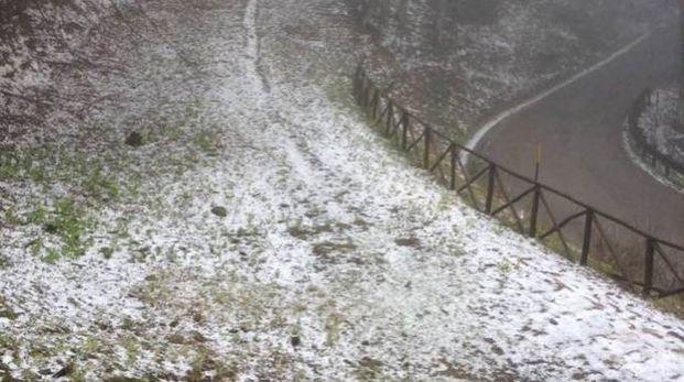 Fiocchi di neve al rifugio chalet la Burraia (foto Bandini)