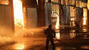 I vigili del fuoco al lavoro per spegnere l'incendio (foto Ravaglia)