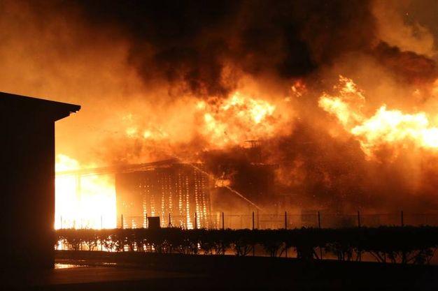 Fumo e fiamme a Budrio di Longiano (foto Ravaglia)