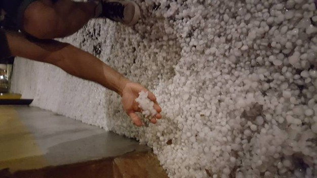 Un tappeto di chicchi in via Ugo Bassi a Cento (foto di Irene)