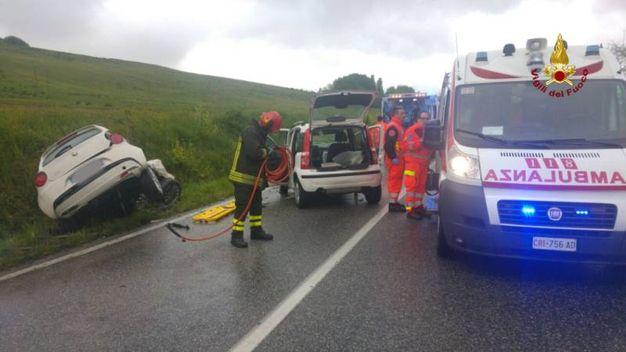 Nell'incidente sono state coinvolte due autovetture