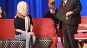 Gessica Notaro inizialmente coperta, ospite al Maurizio Costanzo Show. La puntata va in onda giovedì 20 aprile (foto LaPresse)