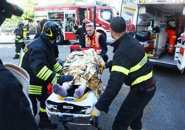 L'anziana è stata portata in eliambulanza all'ospedale Bufalini di Cesena (foto Migliorini)