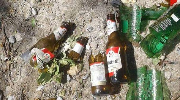Una quarantina le bottiglie lanciate vuote dentro e fuori il fiume