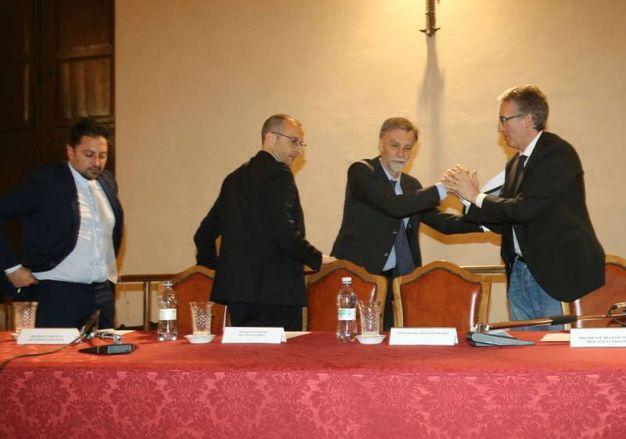 Il ministro con Ceriscioli, Ricci e Tagliolini (fotoprint)