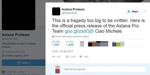 Il tweet dell'Astana Proteam
