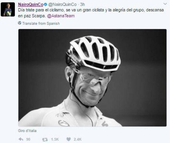 Il tweet di Nairo Quintana