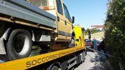 Il furgone coinvolto nell'incidente (Foto Santini)