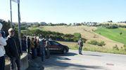 Il luogo dell'incidente in cui ha perso la vita il ciclista Scarponi (foto Santini)