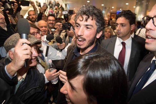 Gabriele Del Grande al suo arrivo a Bologna (LaPresse)