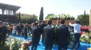 Funerale di Michele Scarponi, l'arrivo del feretro con i familiari (foto Santini)