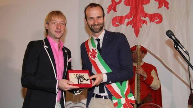Le chiavi della città al campione di pattinaggio Evgeny Plushenko (foto Umberto Visintini/