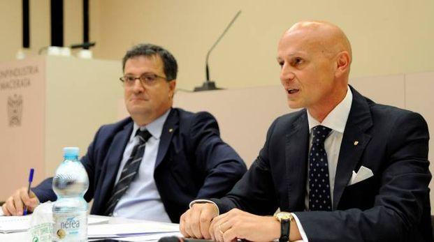 Il presidente di Confindustria Macerata Gianluca Pesarini con il direttore Gianni Niccolò (foto Calavita)