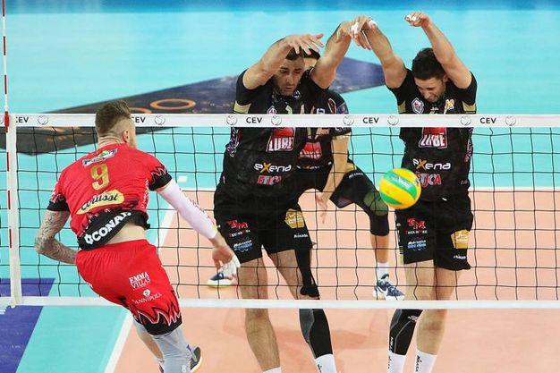 La partita fra Perugia e Lube Civitanova (foto Spalvieri/Lubevolley.it)