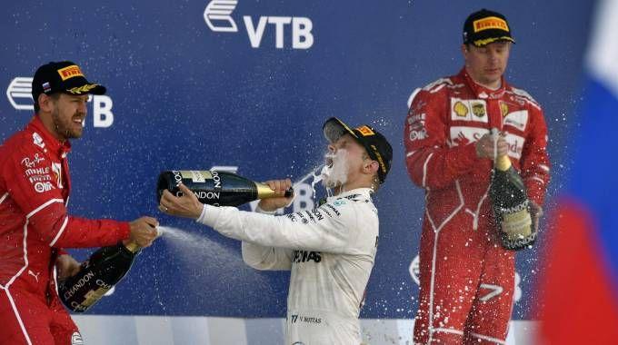 Gp di Russia, Vettel, Bottas e Raikkonen (Afp)