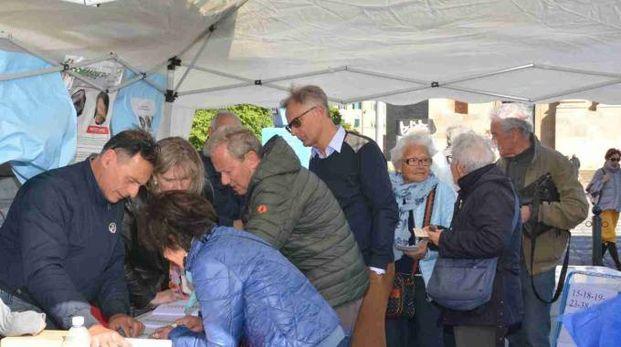 Livorno, il voto a un gazebo (Foto Lanari)
