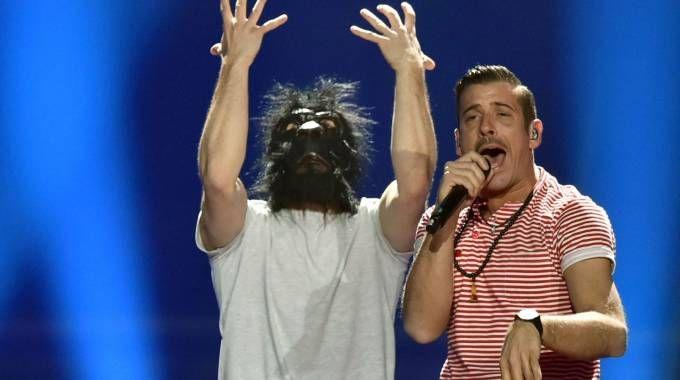 Gabbani sul palco dell'Eurovision 2017 (Afp)