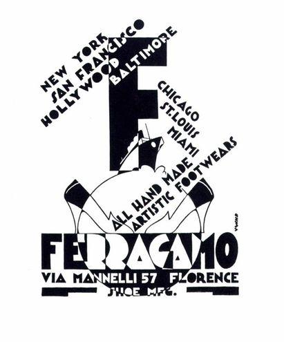 Una delle prime pubblicità di Salvatore Ferragamo, realizzata quando si è già stabilito a Firenze, che dimostra l'internazionalità delle sue scarpe. Il bozzetto pubblicitario è opera dell'artista Lucio Venna e reca la data 1928
