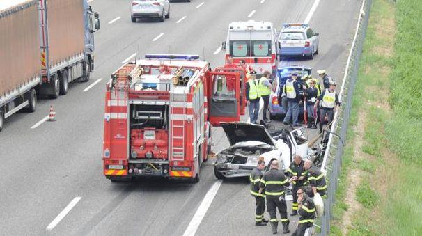 L'incidente mortale in A1 tra Modena Nord e Modena Sud  (Foto Fiocchi)