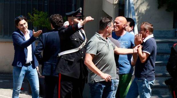 Momenti di tensione alla Cartotecnica Maestrelli. Foto Gianni Nucci/Fotocronache Germogli