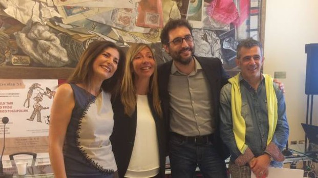 Sonia Peana, Marilena Pillatri (Comune Bologna), Stefano Brugnara (Arci) e Paolo Fresu