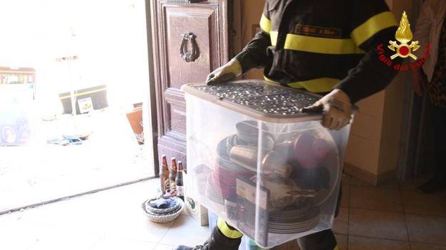I vigili del fuoco al lavoro a San Pellegrino di Norcia