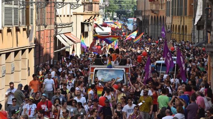 Il corteo del Gay Pride sfila per le vie del centro (Artioli)
