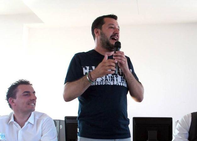 Matteo Salvini presso la sala riunioni del centro civico Villaggio 1° maggio (Via Bidente n. 4) a Rimini (Foto Petrangeli)