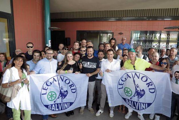 Matteo Salvini incontra i simpatizzanti della Lega Nord (Foto Petrangeli)