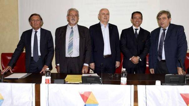 Da sinistra Luigi Odorici, Roberto Zapparoli, Vincenzo Colla, Marcello Minnella e Giovanni Monti