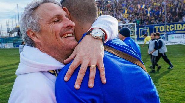 L'allenatore della Fermana, Flavio Destro (foto Zeppilli)