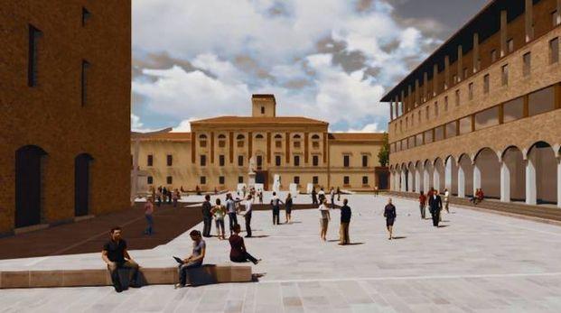 La simulazione grafica della nuova piazza