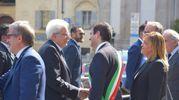 Il presidente Segio Mattarella con il sindaco di Pavia (Torres)