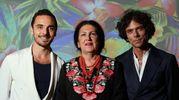Lucia Caponi con i figli Guido e Duccio (foto Marco Mori /New Pressphoto)