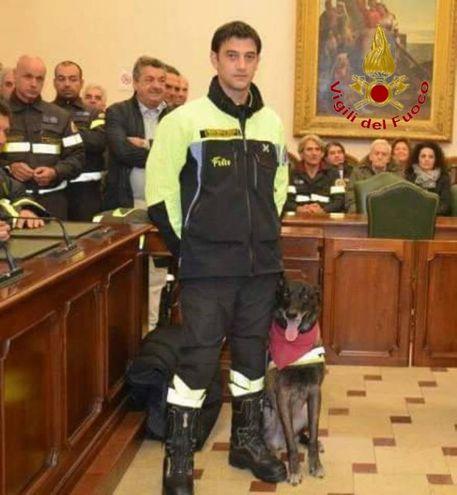 Il cane Navar con il suo conduttore