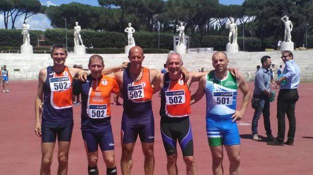 Staffetta 4x100 metri SM50 allo Stadio dei Marmi di Roma