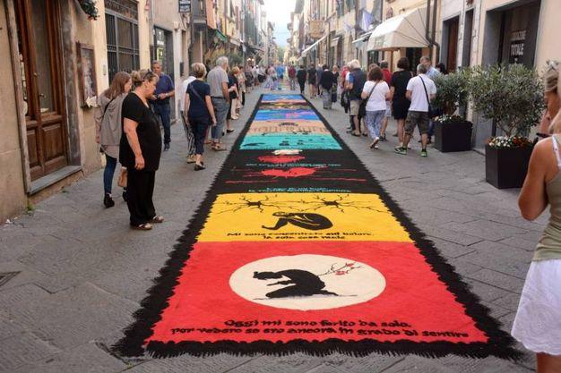 Camaiore, i tappeti di segatura: GreenAway (foto Aldo Umicini)