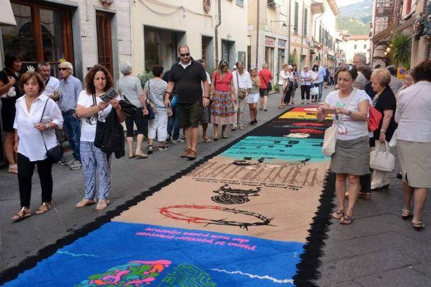 Camaiore, i tappeti di segatura (foto Aldo Umicini)