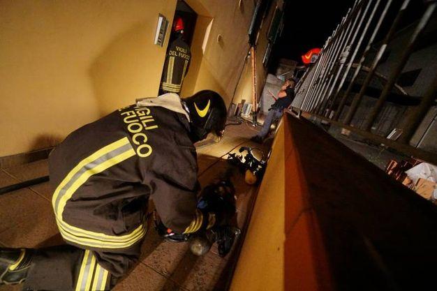 L'intervento dei vigili del fuoco (foto Acerboni/FotoCastellani)