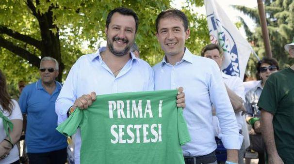 Matteo Salvini con Roberto Di Stefano