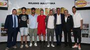 Da sinistra: Doriano Rabotti, Mattia Mascanzoni, Sauro Sonnu, Nicolas Rango, Federico Di Francesco, Beppe Tassi, Mario Baldassari e Mirko Valdifiori (foto Zani)