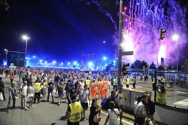 Fuochi artificiali alla fine del concerto al Modena Park (foto Fiocchi)