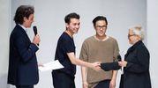 GLi stilisti Galib Gasanov e Luca Lin con Emanuele Farneti e Silvia Venturini Fendi