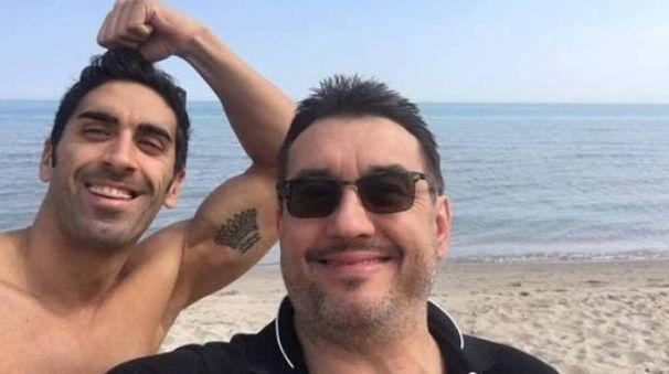 Filippo Magnini, in una foto d'archivio, col suo ex medico nutrizionista Guido Porcellini